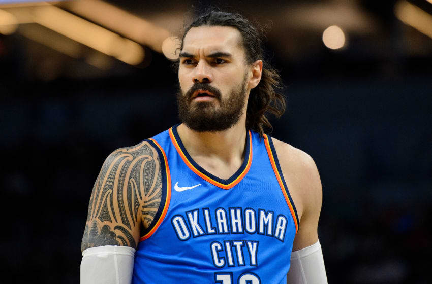 MINNEAPOLIS, MN - JANUARY 10: Steven Adams #12 of the OKC Thunder looks on during the game against the Minnesota Timberwolves on January 10, 2018 at the Target Center in Minneapolis, Minnesota. (Photo by Hannah Foslien/Getty Images)