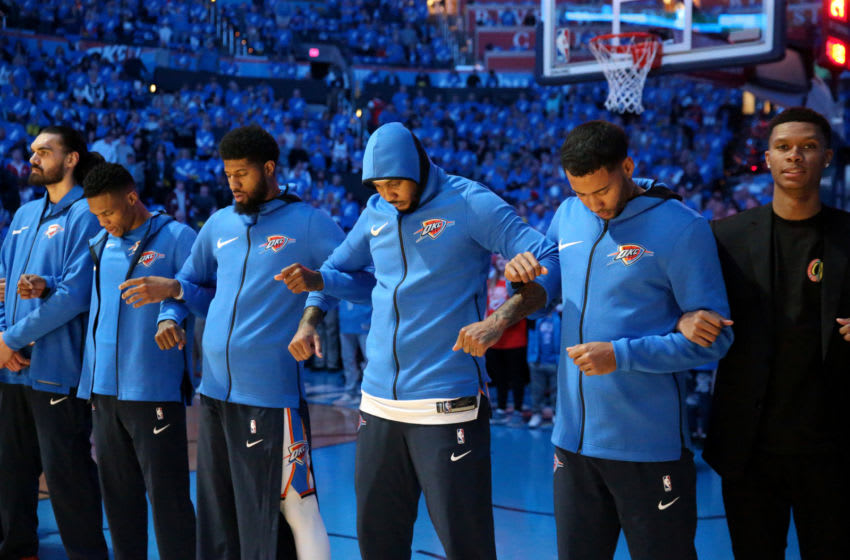 OKLAHOMA CITY, OK - APRIL 15: The Oklahoma City Thunder stand for the National Anthem before the game against the Utah Jazz during Game One of Round One of the 2018 NBA Playoffs on April 15, 2018 at Chesapeake Energy Arena in Oklahoma City, Oklahoma. NOTE TO USER: User expressly acknowledges and agrees that, by downloading and/or using this photograph, user is consenting to the terms and conditions of the Getty Images License Agreement. Mandatory Copyright Notice: Copyright 2018 NBAE (Photo by Layne Murdoch/NBAE via Getty Images)