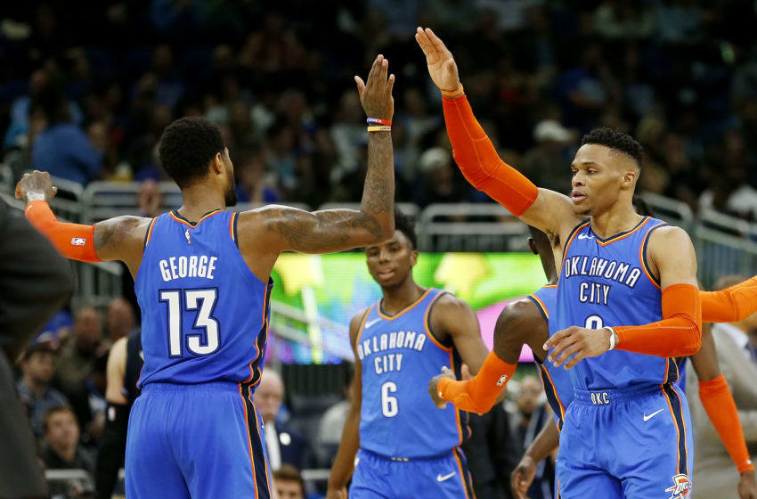Paul George, Russell Westbrook, OKC Thunder, (Photo by Michael Reaves/Getty Images)