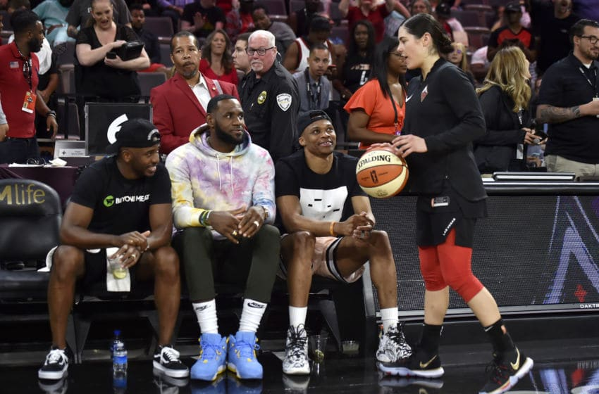 OKC Thunder: Chris Paul, LeBron James, and Russell Westbrook, (Photo by David Becker/NBAE via Getty Images)