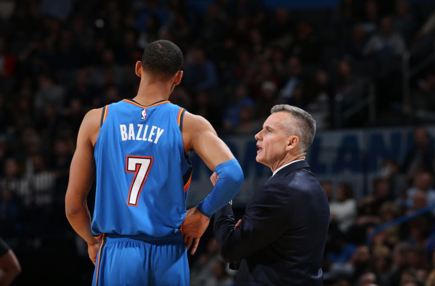OKC Thunder Head Coach Billy Donovan speaks with Darius Bazley during a game against the Philadelphia 76ers on November 15, 2019 (Photo by Zach Beeker/NBAE via Getty Images)