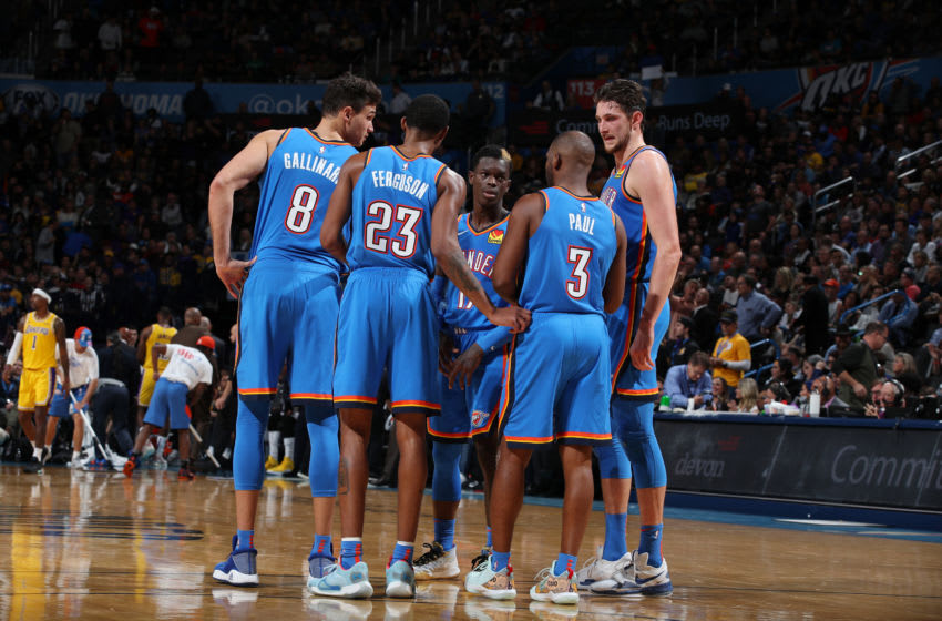 The OKC Thunder huddle up during a game against the Los Angeles Lakers on November 22 (Photo by Zach Beeker/NBAE via Getty Images)