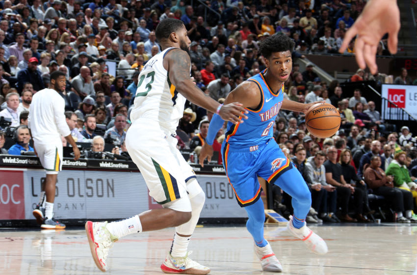 SALT LAKE CITY, UT - DECEMBER 9: Shai Gilgeous-Alexander #2 of the Oklahoma City Thunder handles the ball during the game against the Utah Jazz on December 9, 2019 at Vivint Smart Home Arena in Salt Lake City, Utah. NOTE TO USER: User expressly acknowledges and agrees that, by downloading and or using this Photograph, User is consenting to the terms and conditions of the Getty Images License Agreement. Mandatory Copyright Notice: Copyright 2019 NBAE (Photo by Melissa Majchrzak/NBAE via Getty Images)