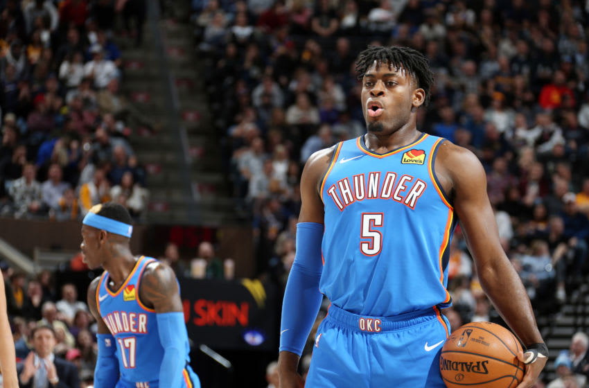 Luguentz Dort #5 of the OKC Thunder shoots a free throw during the game against the Utah Jazz (Photo by Melissa Majchrzak/NBAE via Getty Images)