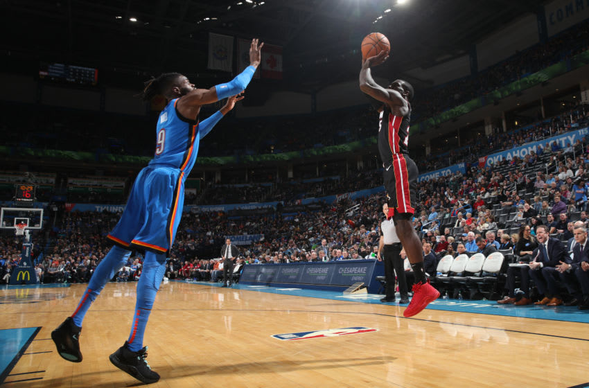 JANUARY 17: Kendrick Nunn #25 of the Miami Heat shoots the ball against the OKC Thunder (Photo by Zach Beeker/NBAE via Getty Images)
