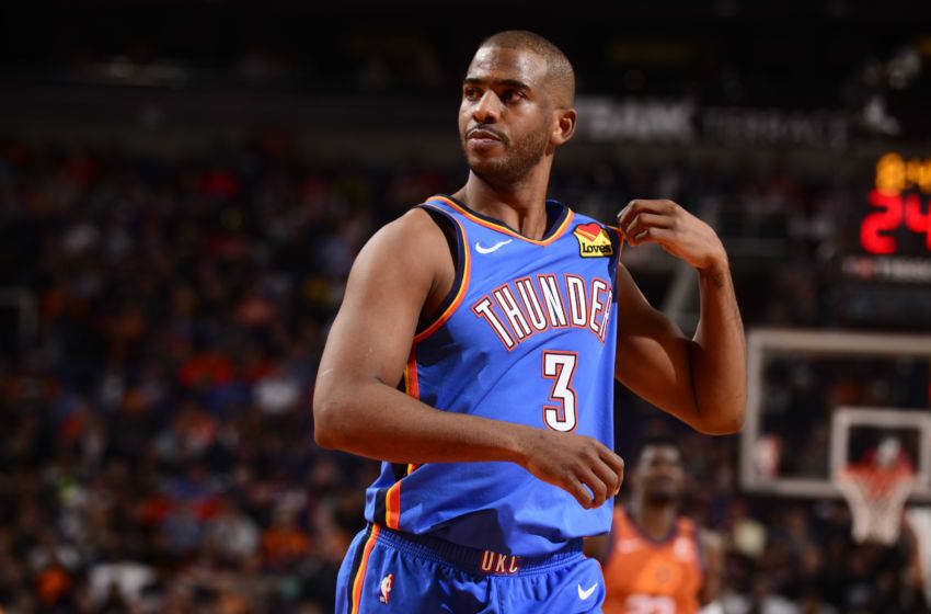 PHOENIX, AZ - JANUARY 31: Chris Paul #3 of the Oklahoma City Thunder looks on during the game against the Phoenix Suns on January 31, 2020 at Talking Stick Resort Arena in Phoenix, Arizona. NOTE TO USER: User expressly acknowledges and agrees that, by downloading and or using this photograph, user is consenting to the terms and conditions of the Getty Images License Agreement. Mandatory Copyright Notice: Copyright 2020 NBAE (Photo by Barry Gossage/NBAE via Getty Images)