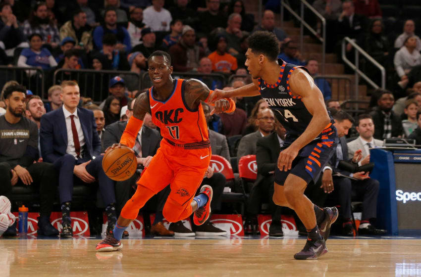 OKC Thunder's Dennis Schroder #17 in action against Allonzo Trier #14 Knicks (Photo by Jim McIsaac/Getty Images)