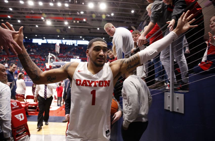 DAYTON, OHIO - FEBRUARY 22: Obi Toppin #1 of the Dayton Flyers walks off the court after a win over the Duquesne Dukes at UD Arena on February 22, 2020 in Dayton, Ohio. The Flyers won 80-70. (Photo by Justin Casterline/Getty Images)