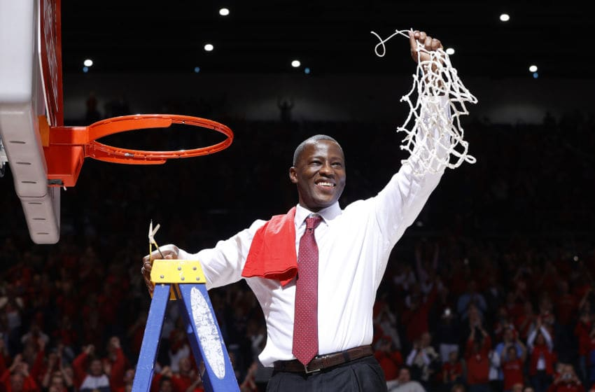 MARCH 07 2020: Head coach Anthony Grant of the Dayton Flyers celebrates after his team defeated the George Washington Colonials clinching the Atlantic 10 Conference regular season title. (Photo by Joe Robbins/Getty Images)