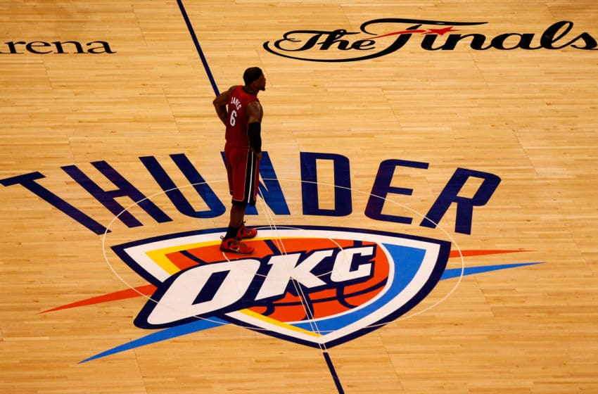 OKLAHOMA CITY, OK - JUNE 12: LeBron James #6 of the Miami Heat looks on in the second half while taking on the Oklahoma City Thunder in Game One of the 2012 NBA Finals at Chesapeake Energy Arena on June 12, 2012 in Oklahoma City, Oklahoma. NOTE TO USER: User expressly acknowledges and agrees that, by downloading and or using this photograph, User is consenting to the terms and conditions of the Getty Images License Agreement. (Photo by Mike Ehrmann/Getty Images)