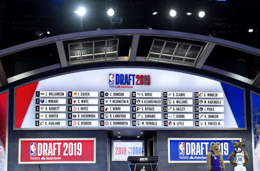 The first round draft board is seen during the 2019 NBA Draft (Photo by Sarah Stier/Getty Images)