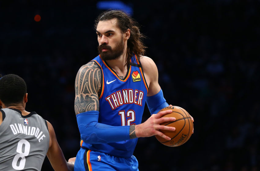 Steven Adams #12 of the OKC Thunder in action against the Brooklyn Nets (Photo by Mike Stobe/Getty Images)