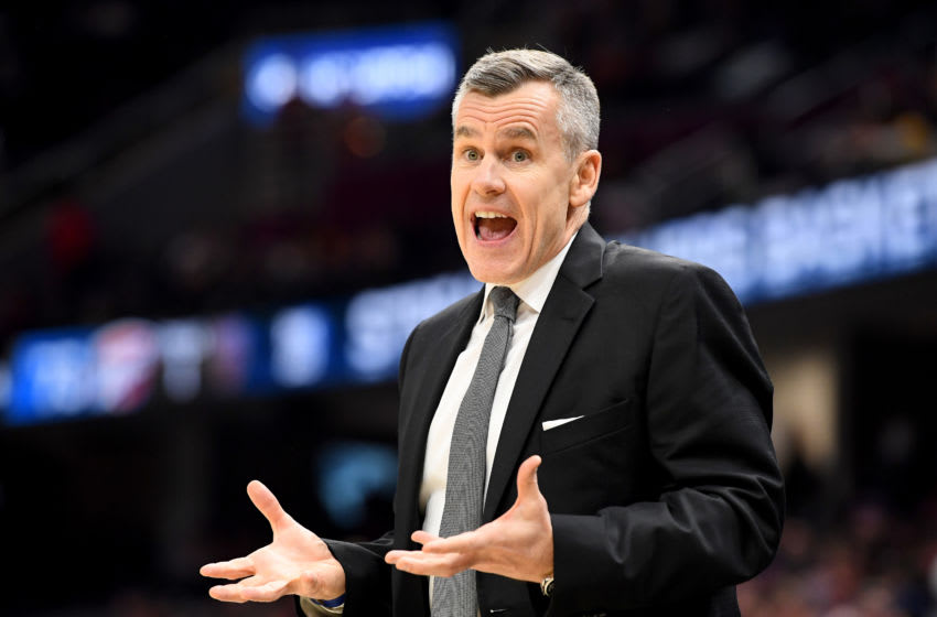 CLEVELAND, OHIO - JANUARY 04: Head coach of the Oklahoma City Thunder reacts to an officials call during the second half against the Cleveland Cavaliers at Rocket Mortgage Fieldhouse on January 04, 2020 in Cleveland, Ohio. The Thunder defeated the Cavaliers 121-106. NOTE TO USER: User expressly acknowledges and agrees that, by downloading and/or using this photograph, user is consenting to the terms and conditions of the Getty Images License Agreement. (Photo by Jason Miller/Getty Images)