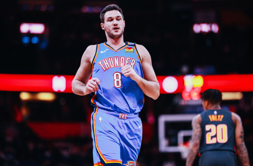 JANUARY 22: Danilo Gallinari #8 of the OKC Thunder on the court against the Orlando Magic (Photo by Harry Aaron/Getty Images)