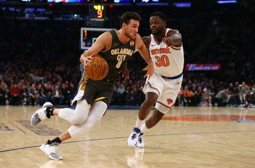MARCH 06: Danilo Gallinari #8 of the OKC Thunder in action against Julius Randle #30 of the New York Knicks (Photo by Mike Stobe/Getty Images)