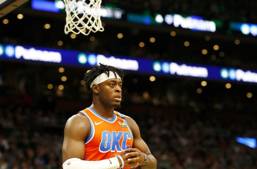 MARCH 08: Luguentz Dort #5 of the OKC Thunder looks on during the third quarter against the Boston Celtics. (Photo by Omar Rawlings/Getty Images)