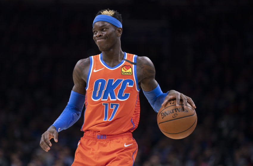 Dennis Schroder #17 of the OKC Thunder dribbles the ball against the Philadelphia 76ers (Photo by Mitchell Leff/Getty Images)