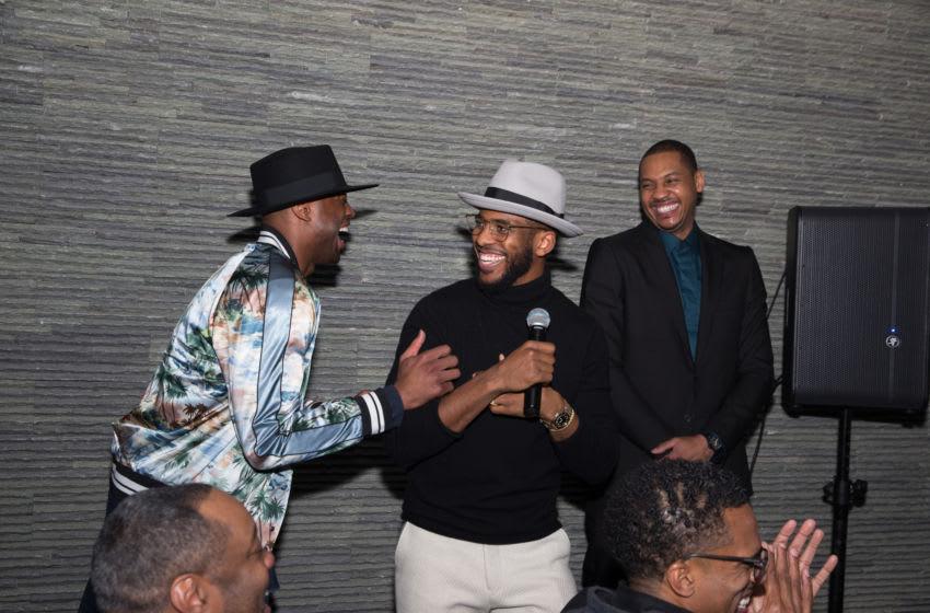 OKC Thunder: Dwyane Wade, Chris Paul and Carmelo Anthony. (Photo by Bobby Metelus/Getty Images)