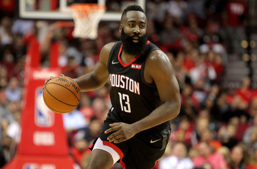Oct 17, 2018; Houston, TX, USA; Houston Rockets guard James Harden (13) handles the ball against the New Orleans Pelicans during the third quarter at Toyota Center. Mandatory Credit: Erik Williams-USA TODAY Sports