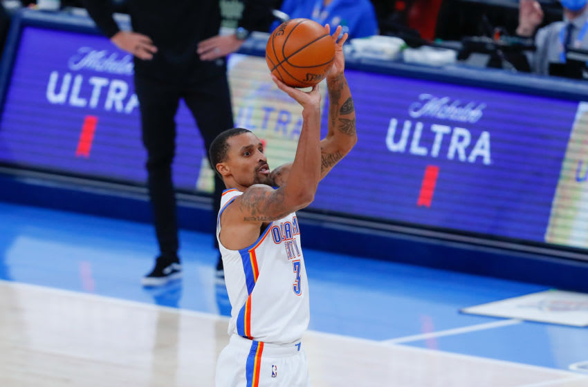 Dec 28, 2020; Oklahoma City, Oklahoma, USA; Oklahoma City Thunder guard George Hill (3) shoots against the Utah Jazz during the second half at Chesapeake Energy Arena. Mandatory Credit: Alonzo Adams-USA TODAY Sports