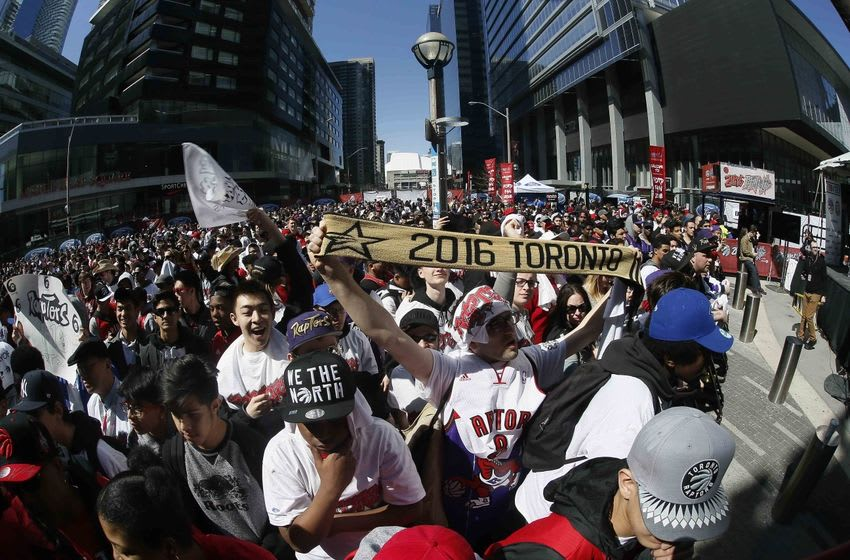 Apr 16, 2016; Toronto, Ontario, CAN; Toronto Raptors fans in the area know as Jurassic Park outside of the Air Canada Centre prior to game one of the first round of the 2016 NBA Playoffs between the Indiana Pacers and Toronto Raptors. Mandatory Credit: John E. Sokolowski-USA TODAY Sports