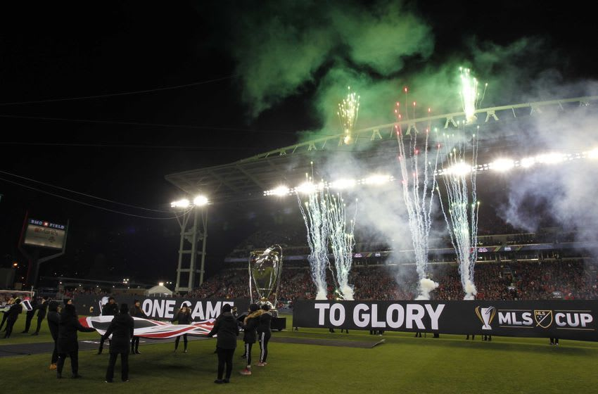 Dec 10, 2016; Toronto, Canada; Pyrotechnics go off prior to the game between the Toronto FC and the Seattle Sounders in the 2016 MLS Cup at BMO Field. Mandatory Credit: Geoff Burke-USA TODAY Sports