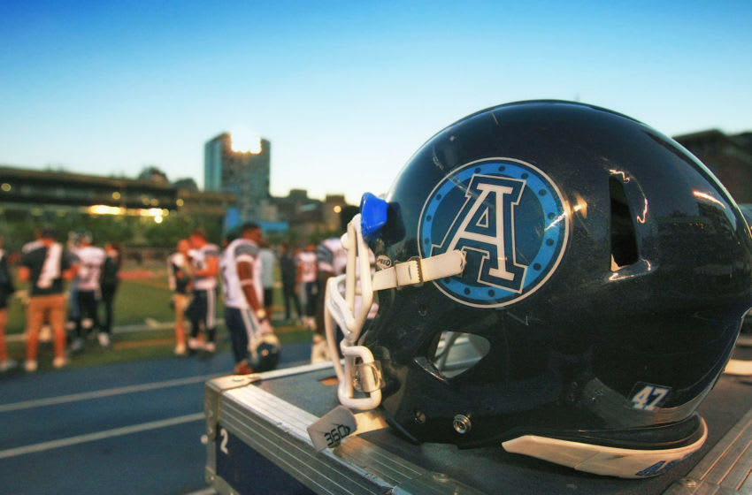 TORONTO, ON - JUNE 19: A helmet of the Toronto Argonauts on the side of the field as the Argonauts face the Hamilton Tiger-Cats during their game at Varsity Stadium on June 19, 2014 in Toronto, Canada. (Photo by Dave Sandford/Getty Images)