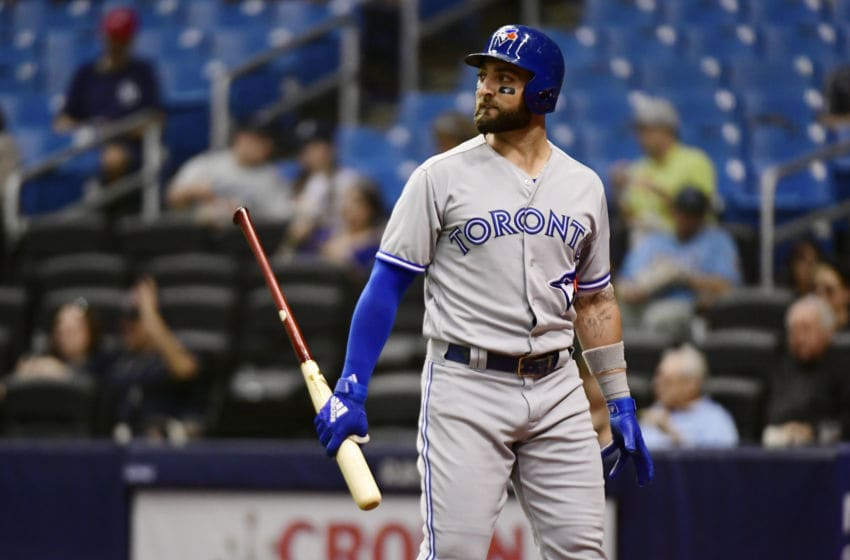 ST PETERSBURG, FL - SEPTEMBER 28: Kevin Pillar #11 of the Toronto Blue Jays looks out to the mound after striking out in the first inning against the Tampa Bay Rays on September 28, 2018 at Tropicana Field in St Petersburg, Florida. (Photo by Julio Aguilar/Getty Images)