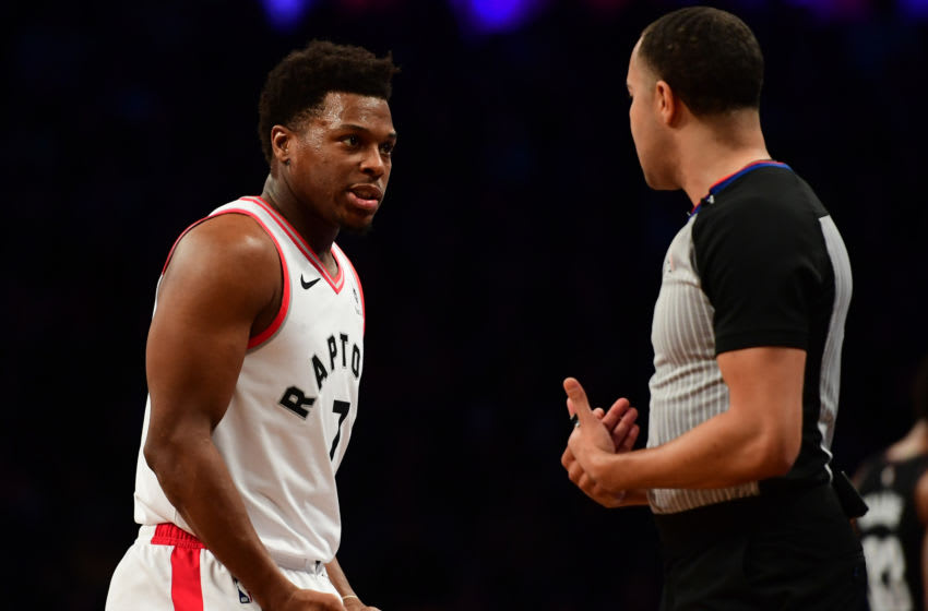 Kyle Lowry #7 of the Toronto Raptors talks with a referee after a call in the second quarter during the game against Brooklyn Nets (Photo by Sarah Stier/Getty Images)