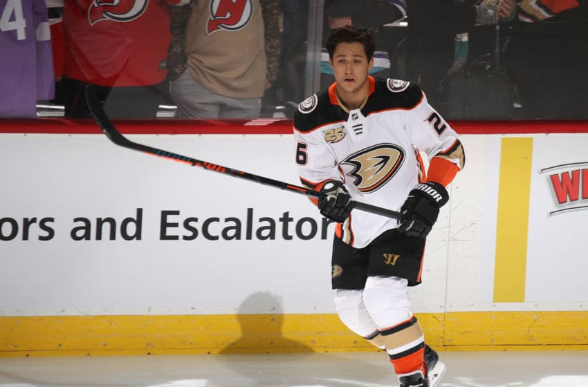 NEWARK, NEW JERSEY - JANUARY 19: Brandon Montour #26 of the Anaheim Ducks skates in warm-ups prior to the game against the New Jersey Devils at the Prudential Center on January 19, 2019 in Newark, New Jersey. The Ducks defeated the Devils 3-2. (Photo by Bruce Bennett/Getty Images)