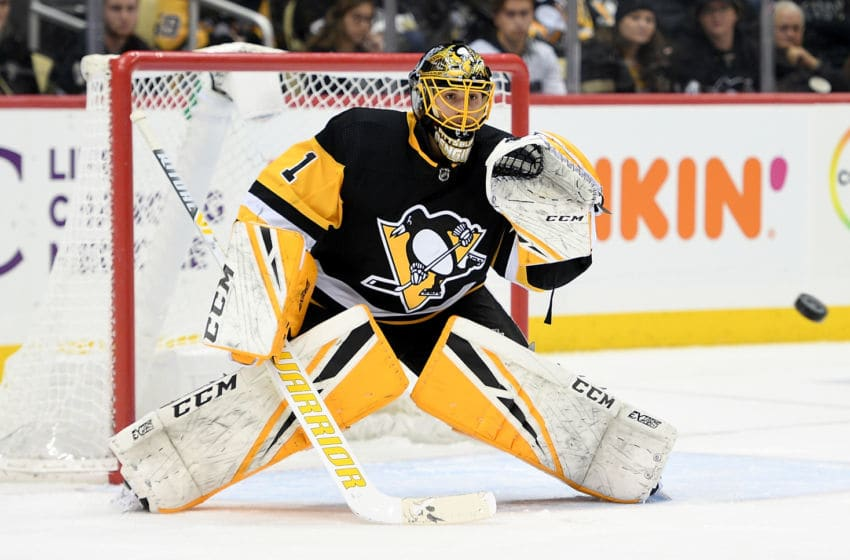 Casey DeSmith #1 of the Pittsburgh Penguins tends goal in the third period during the game against the Chicago Blackhawks. (Photo by Justin Berl/Getty Images)