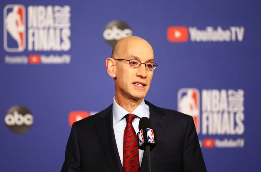 NBA Commissioner Adam Silver speaks before Game One of the 2019 NBA Finals between the Toronto Raptors and the Golden State Warriors. NOTE TO USER: User expressly acknowledges and agrees that, by downloading and or using this photograph, User is consenting to the terms and conditions of the Getty Images License Agreement. (Photo by Vaughn Ridley/Getty Images)
