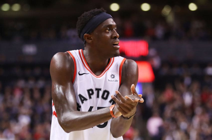 Pascal Siakam #43 of the Toronto Raptors celebrates his teams lead against the Golden State Warriors. (Photo by Gregory Shamus/Getty Images)