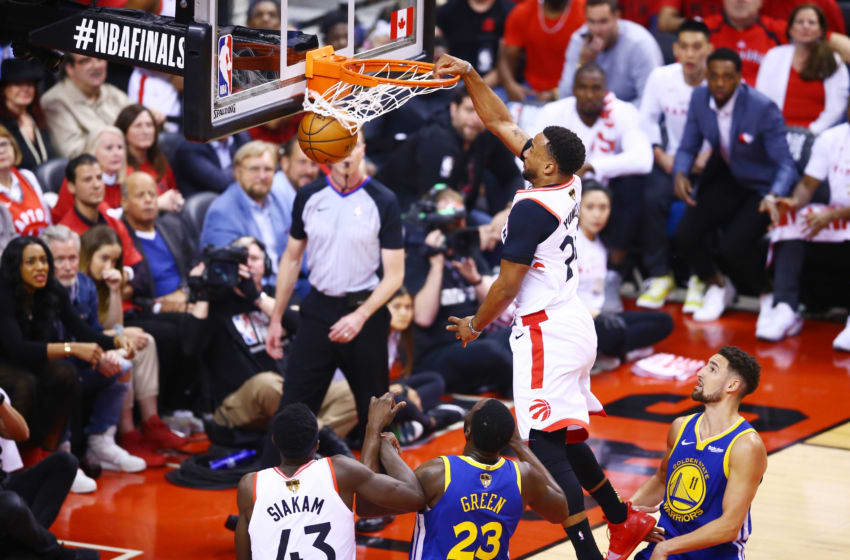 Norman Powell #24 of the Toronto Raptors dunks the ball against the Golden State Warriors in the first half during Game Two of the 2019 NBA Finals at Scotiabank Arena. (Photo by Vaughn Ridley/Getty Images)