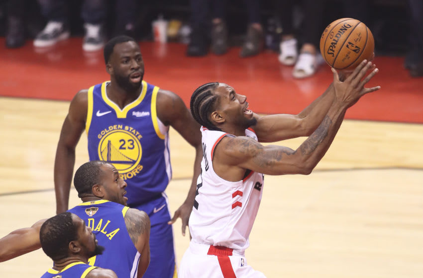Kawhi Leonard #2 of the Toronto Raptors goes up for a basket against the Golden State Warriors during Game Five of the 2019 NBA Finals at Scotiabank Arena. (Photo by Claus Andersen/Getty Images)