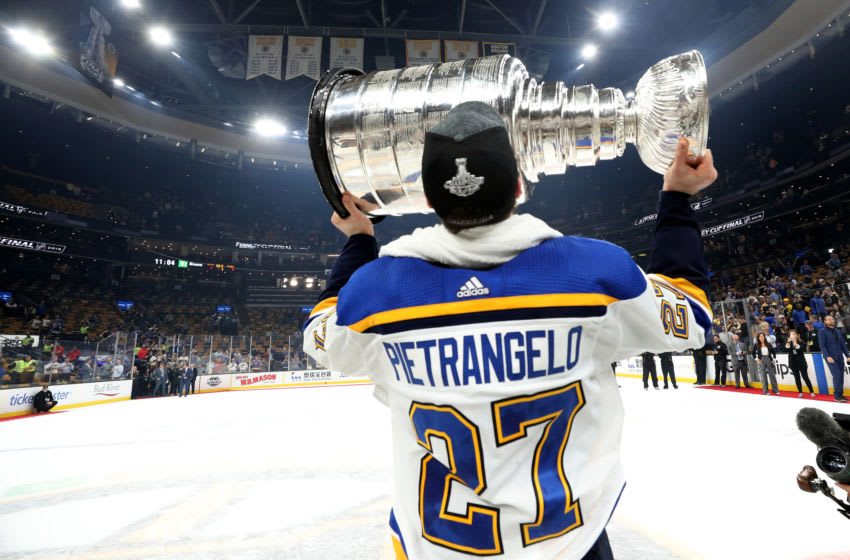 Alex Pietrangelo #27 of the St. Louis Blues celebrates with the Stanley Cup. (Photo by Bruce Bennett/Getty Images)