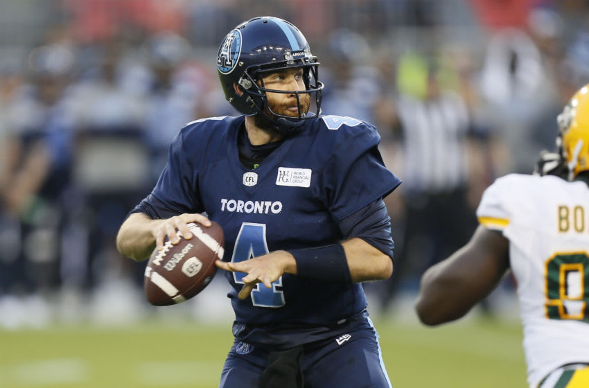 McLeod Bethel-Thompson #4 of the Toronto Argonauts. (Photo by John E. Sokolowski/Getty Images)