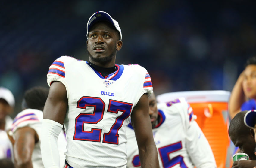 DETROIT, MI - AUGUST 23: Tre'Davious White #27 of the Buffalo Bills looks on during the preseason game against the Detroit Lions at Ford Field on August 23, 2019 in Detroit, Michigan. (Photo by Rey Del Rio/Getty Images)