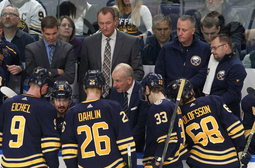 Buffalo Sabres head coach Ralph Krueger (center), Jack Eichel, Rasmus Dahlin, Colin Miller and Victor Olofsson. (Photo by Nicholas T. LoVerde/Getty Images)