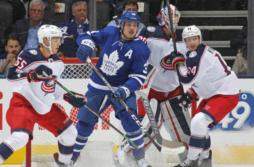 Auston Matthews of the Toronto Maple Leafs against the Columbus Blue Jackets. (Photo by Claus Andersen/Getty Images)