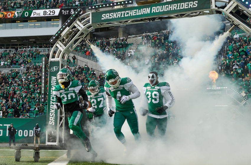 Blace Brown #30, Cameron Judge #4, Kienan LaFrance #27 and Charleston Hughes #39 of the Saskatchewan Roughriders. (Photo by Brent Just/Getty Images)