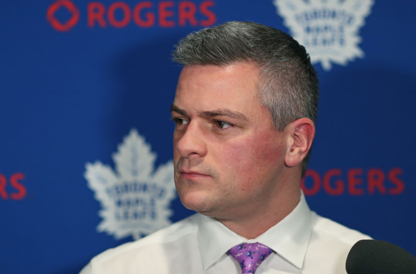 Head coach Sheldon Keefe of the Toronto Maple Leafs chats with the media prior to action against the Buffalo Sabres in an NHL game at Scotiabank Arena. (Photo by Claus Andersen/Getty Images)