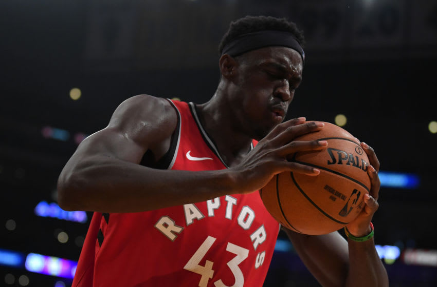 Pascal Siakam #43 of the Toronto Raptors reacts to a Raptor foul during a 113-104 win over the Los Angeles Lakers at Staples Cente. (Photo by Harry How/Getty Images)