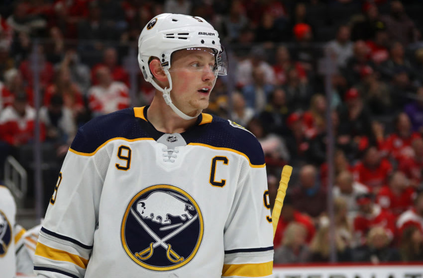 Jack Eichel #9 of the Buffalo Sabres skates against the Detroit Red Wings at Little Caesars Arena. (Photo by Gregory Shamus/Getty Images)