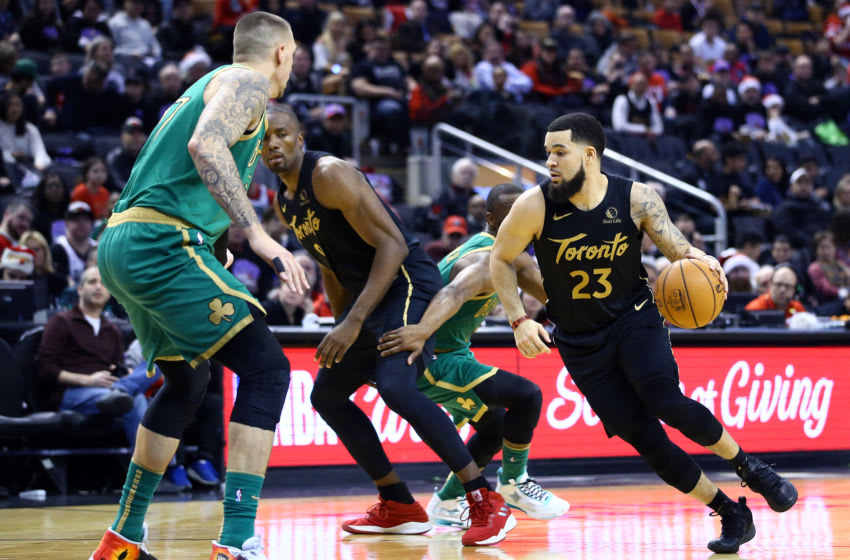 Fred VanVleet #23 of the Toronto Raptors dribbles the ball during the second half of an NBA game against the Boston Celtics at Scotiabank Arena. (Photo by Vaughn Ridley/Getty Images)