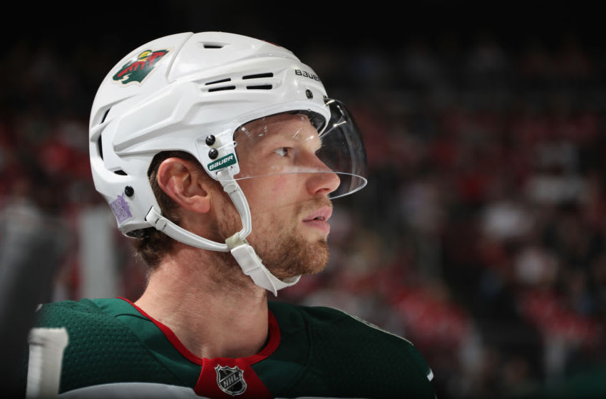 Eric Staal #12 of the Minnesota Wild plays against the New Jersey Devils. (Photo by Bruce Bennett/Getty Images)