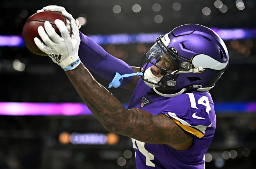 Wide receiver Stefon Diggs #14 of the Minnesota Vikings warms up before the game against the Green Bay Packers at U.S. Bank Stadium. (Photo by Stephen Maturen/Getty Images)