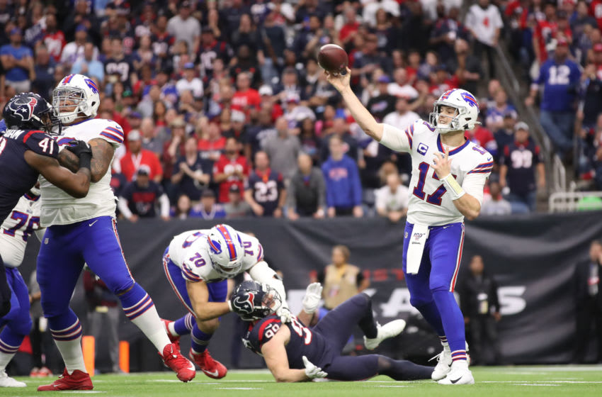 Josh Allen #17 of the Buffalo Bills delivers a pass against the Houston Texans during the first quarter of the AFC Wild Card Playoff game at NRG Stadium. (Photo by Christian Petersen/Getty Images)