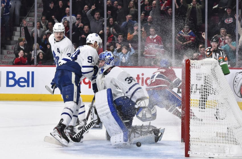 Goaltender Jack Campbell #36 of the Toronto Maple Leafs reacts after allowing an overtime goal by Ilya Kovalchuk #17 of the Montreal Canadiens at the Bell Centre. (Photo by Minas Panagiotakis/Getty Images)