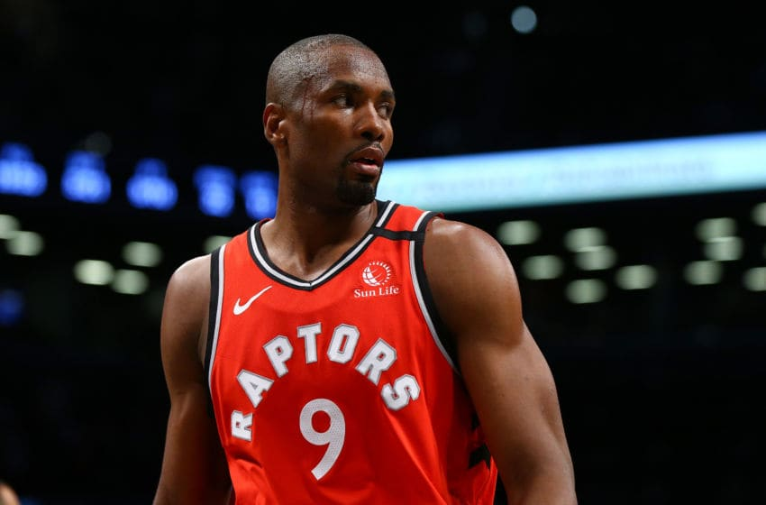 Serge Ibaka #9 of the Toronto Raptors in action against the Brooklyn Nets at Barclays Center. (Photo by Mike Stobe/Getty Images)